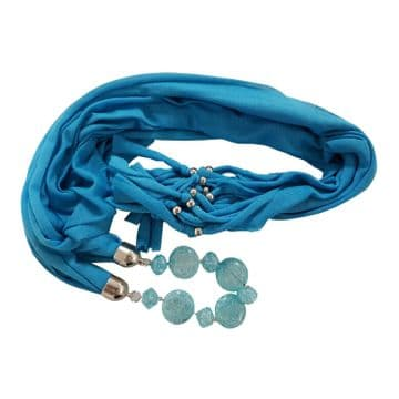 BLUE COTTON SCARF with BUILT IN NECKLACE fashion jewellery